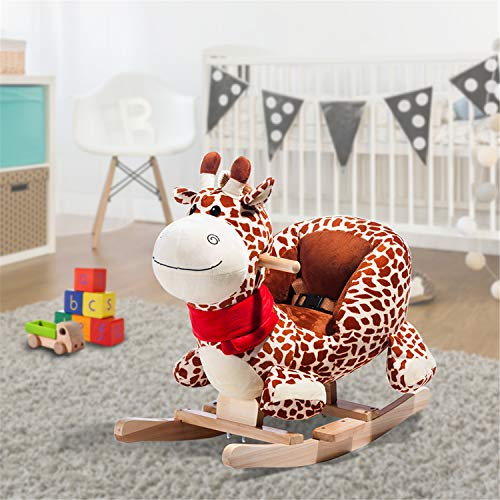 WEIGEL Rocking Horse Toys, Plush Rocking Horse, Toddler Rocking Chair with Handle Grip  Safe Belt  Wood Base, Animal Rider Toys, Ride On Toy for 6-36 months Kids, Gift for Boys Girls (Beige Giraffe)