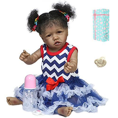 22inch Reborn Baby Dolls Full Vinyl Silicone Body Black Skin Girl Realistic Looking Washable Anatomically Correct (Blue-Red)