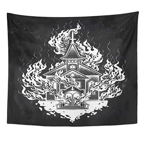 Leisure-Time Tapisserie Brennende Kirche Flash Tattoo Dotwork Kapelle Feuer Brandstiftung Metapher Wandbehang 60x80 Zoll