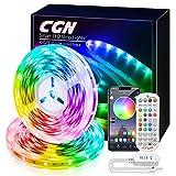 20M Ruban LED Multicolore, CGN LED Bande Bluetooth RGB 5050 Guirlande Lumineuse Dimmable Auto-adhésif Contrôler par Application ou Télécommande Musique Mode LED Chambre Eclairage Décorative