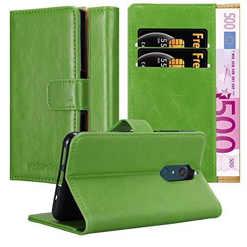Cadorabo Hülle für WIKO View XL in Gras GRÜN – Handyhülle mit Magnetverschluss, Standfunktion & Kartenfach – Hülle Cover Schutzhülle Etui Tasche Book Klapp Style