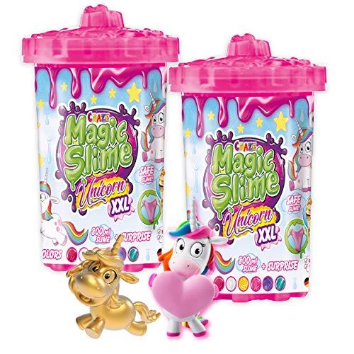 CRAZE Magic Slime Unicorn XXL 2er Set inkl. Einhorn Spielfigur 1600 ml Glitzer Schleim 30905, Bunter Spielschleim für Kinder