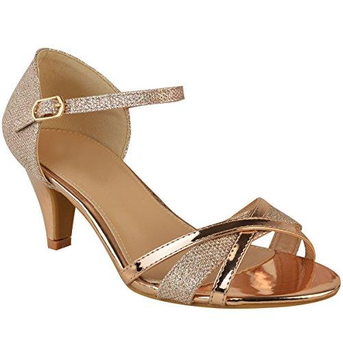 Fashion Thirsty Damen Sandaletten mit Mittelhohem Absatz - Offener Zehenbereich - Roségoldfarben Metallic - EUR 39