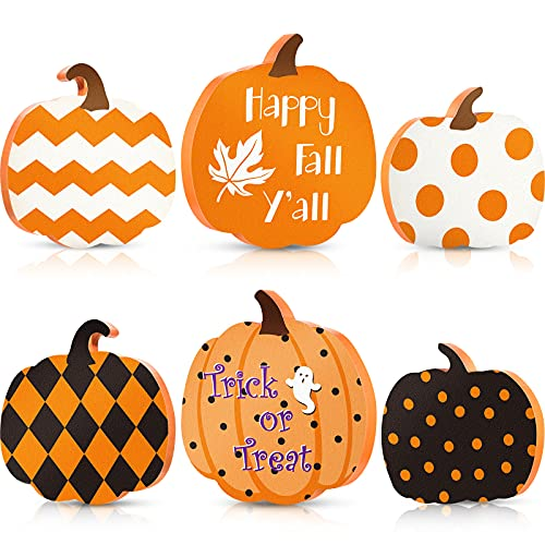 3 Pieces Fall Pumkin Table Wooden Sign Reversible Pumpkin Signs Double Side Printed Freestanding...