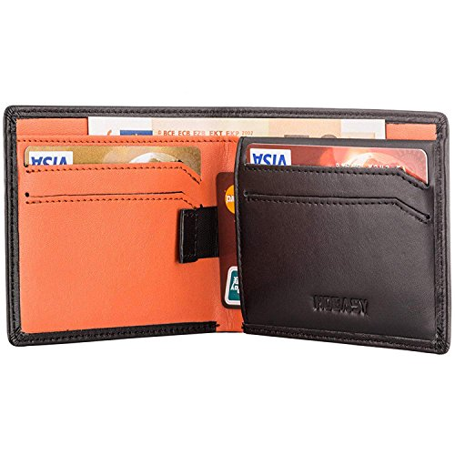 HOEASY RFID Blocking Wallet for Men,Slim Leather Wallet – Made with Napa Genuine Leather – Black Surface/Orange Inside Holding 12 Cards and Cash,Excellent Credit Card Protector