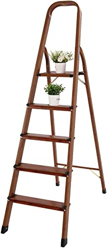 popular LUISLADDERS 5 Step outlet sale Ladder Folding Aluminum Lightweight Ladder Woodgrain Step Ladder Anti-Slip Sturdy and Wide Pedal Ladders for Home and online Kitchen 330lbs sale