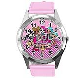 Reloj de cuarzo con correa de piel auténtica rosa redondo para fanáticos de muñecas E2