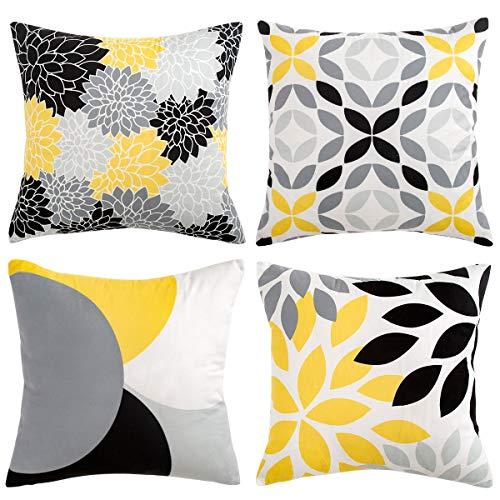 Funda Almohada Geométrica 18x18/45x45 cm Cojines Decorativos para el sofá Coche Decoración Amarillo Gris Negro