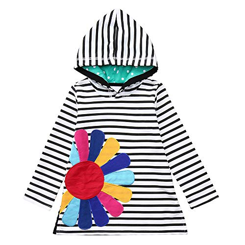 JERFER Gestreift Regenbogen-Druck Party Kleid Säugling Kleinkind Baby Mädchen Schwester Kleider