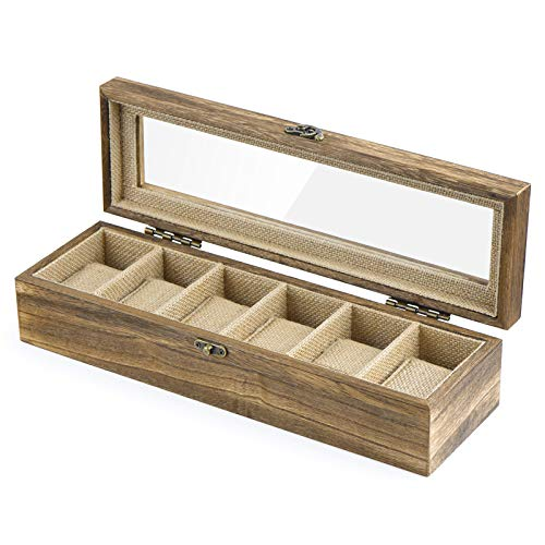 SRIWATANA Watch Box Case Organizer Display for Men Women, 6 Slot Wood Box with Glass Top, Carbonized Black