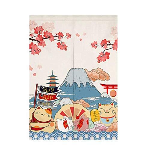 Campanas de Viento japonesas Cortina de Puerta Cortina de partición Cocina y baño Media Cortina Decorativa Cortina de Feng Shui Noren-90 * 120cm