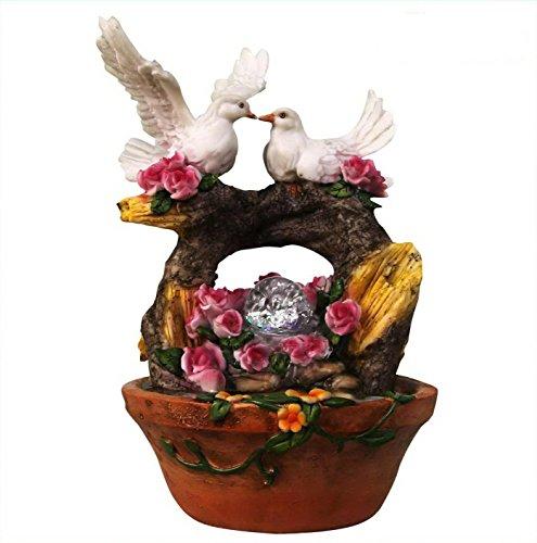 SINTECHNO snf13165–4Lovely Paar Taube Nistkasten auf Arch Baum Skulptur Tischplatte Wasser Brunnen