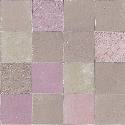 Vliesbehang Tegeltjes behang Tegel behang Beige/Creme Grijs Paars 374062 37406-2 A.S. Création New Walls | Beige/Creme/Grijs/Paars | Sample (21 x 29,7 cm)