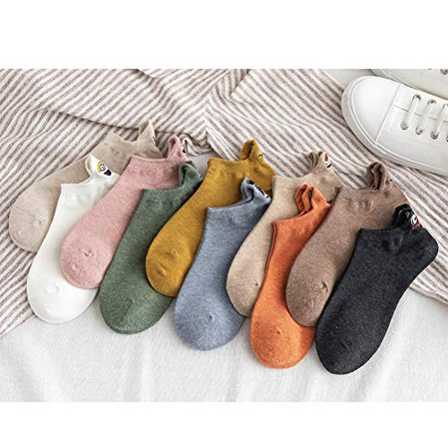 ALBEFY 10 Paar Socken, Cartoon gestickte Expression Socken, Söckchen aus Baumwollmischung für Frauen, rutschfeste, bequeme und atmungsaktive, lustige kawaii Emoji Knöchel kurze Bootssocken