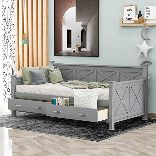 Twin Size Storage Daybed, Rockjame Solid Twin Bed Frames with 2 Large Drawers, X-Shaped Frame, Modern and Rustic Casual Style Daybed for Kids Guests (Gray)