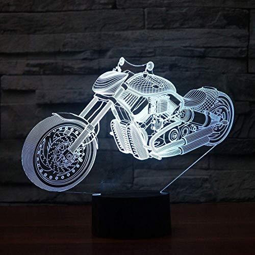 KangYD Motocicleta de campo traviesa con luz nocturna 3D, lámpara de ilusión LED, E - Base para despertador (7 colores), Arte Lámpara de noche, Lámpara moderna