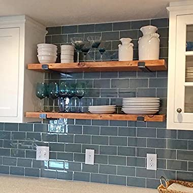 WGX 32'' 2-Tiers Rustic Kitchen Wood Wall Shelf with Metal Bracket Also Multi Use Can Be Used As a Spice Rack Living Room or Bedroom Wall Shelf