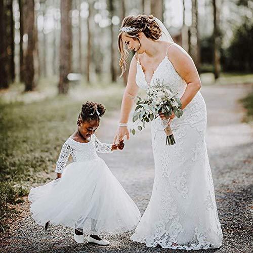 Girl Toddler Full-Length Straight Tulle Tutu Lace Back Party Flower Girl Dress (2-3T, Sleeve-White)