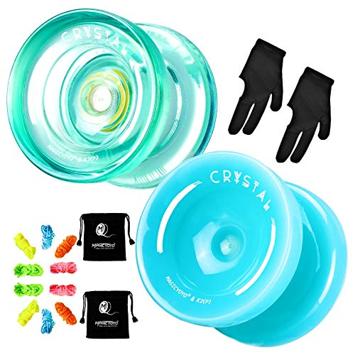 MAGICYOYO Pack of 2 K2 Responsive Plastic Fingerspin Yoyo for Kids Beginners Yo-Yo with 2 Yoyo Gloves, 2 Yoyo Bags, 10 Yoyo Strings