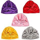 Danolt 5 PCS Sombrero de algodón para bebé-niñas, Suave Cute Bow Turbante Headwrap para recién Nacidos niños pequeños Niñas 0-24 Meses.