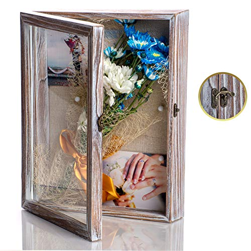 NIKOC Rustic White Shadow Box Display Case 11 X 14 Inch Wood Shadow Box Picture Frame with Linen Back Memorabilia Medals Flowers Magazine Graduation Wedding Baby Memory Box for Keepsakes