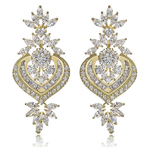 SonMo Damen Ohrringe Versilbert Herz Blatt Grosse Hänge Ohrringe Gold Silber Chandelier Ohrringe Ohrhänger Groß Statement Ohrringe 23X50MM