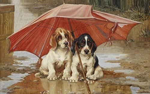 Zwei Hunde unter dem schäbigen Regenschirm Ölgemälde druckt auf Leinwand Wanddekoration Bild für Wohnzimmer Dekor