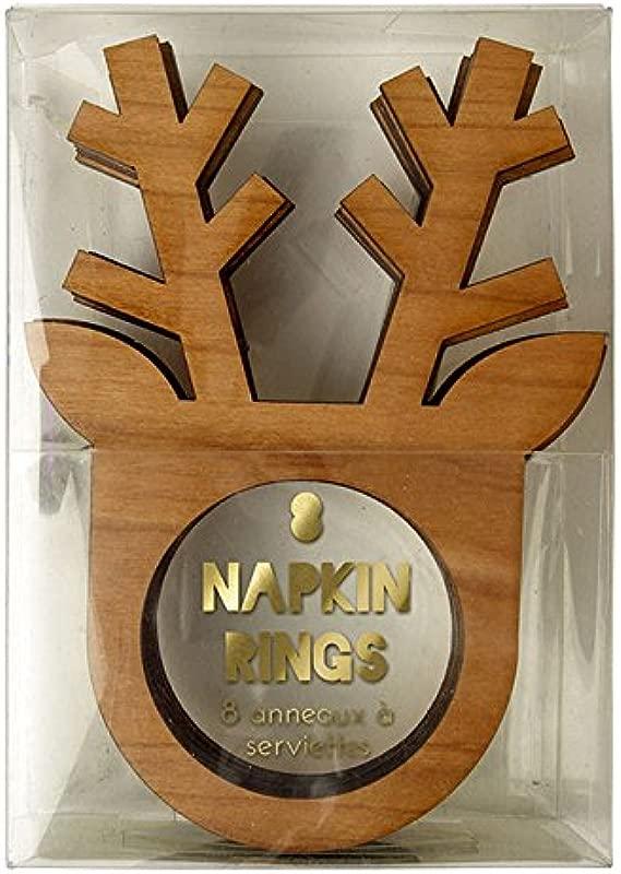 Christmas Meri Meri Pack Of 8 Wooden Reindeer Christmas Nakpin Rings