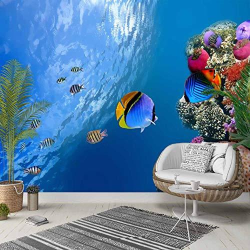 Pbbzl Fotobehang op achtergrond, voor slaapkamer, voor slaapkamer, van stof, afwasbaar, 3D-print van bonte vissen in tropisch blauw 150x120cm