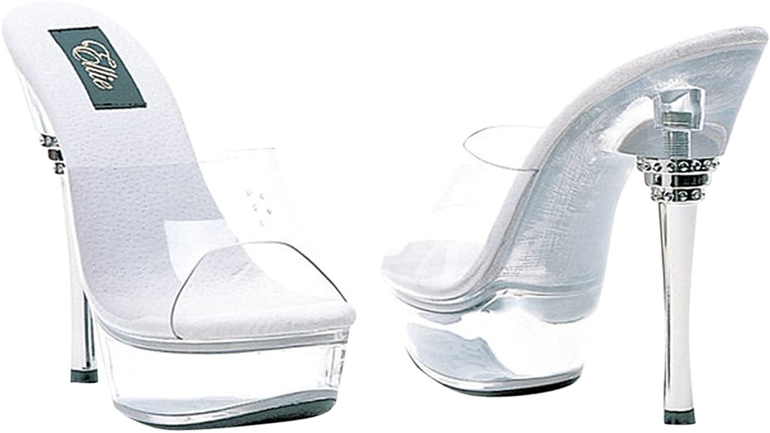 Sexy Fashions 6 Inch Clear Mule Women's Size shoes With Rhinestone Silver Metallic Heel (Clear;7)