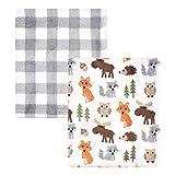 Hudson Baby Unisex Baby Cozy Plush Luxury Blankets 2pk, Woodland, One Size