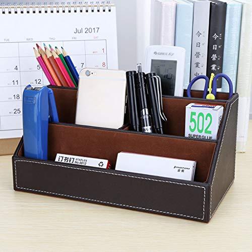 Schreibtisch Tidy Schreibtisch Organizer Aufbewahrung Von Schreibwaren Bürobedarf Leder 5 Fächer, Multifunktions Stifthalter Stifteköcher Stiftebox Schreibtisch-1