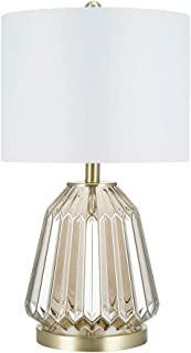 Catalina Lighting 22144-000 Transitional 3-Way Ribbed Clear Glass Table Lamp with Linen Shade, 23.5