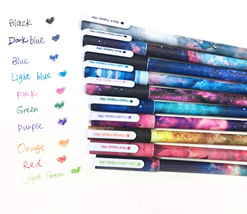 Cute Pens Galaxy Pens Colorful Gel Ink Pen Set Toshine Multi Colored Pens for Bullet Journal Writing Cartoon Gel Ink Roller Ball Fine Point Pens 10 Pcs 0.5 mm (Starsky)