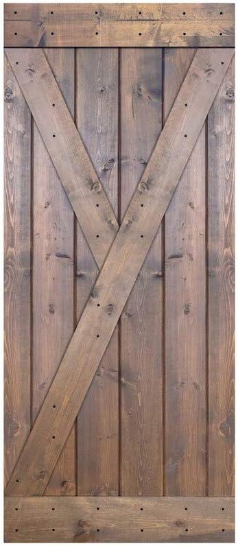 2021new shipping free shipping Paneled Elegant Wood Barn Door Without Installation - Kit Hardware Ser Y