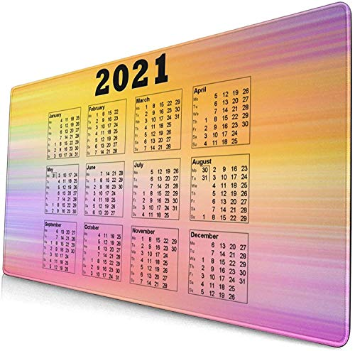 Alfombrilla de ratón grande de 90 x 30 cm x 0,3 cm, para calendario, 2021, sin labios, cómoda base de goma para escritorio, PC y laptopolour16