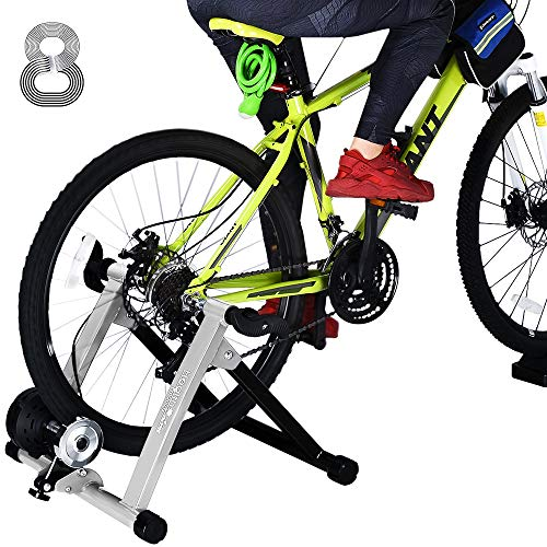 Indoor Bike Trainer, Bike Stationary Riding Stand Fits Road/ Mountain Bike Adjustable 8 Levels Resistance Bike Riding Stand w Wheel Block & Quick Release
