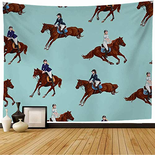 Wall Tapestry White Color Bay Hooves Head Farm Horses Stallion Wild Graphic Texture Equine Running Sketch Riding Tapestry Wall Hanging Bedding Tapestry for Bedroom 80x60 Inch
