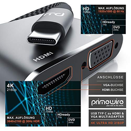 CSL - USB C Stecker zu HDMI VGA USB 3.2 USB Typ C Buchse Adapter Kabel - HDMI 4k 3840 x 2160 @ 30 Hz - VGA 1080P – HDR fähig – Typ C Port Powerdelivery 65W - USB 3.2 Gen 1 Typ A Port 5GBit/s