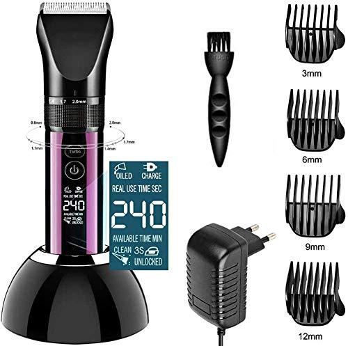 FyLD scheerapparaat voor professionele mannen, LCD, elektrisch, draadloos, grasmaaier met 2200 mAh, lithium batterij, snel lcd-display, oplaadbaar met 4 kamers