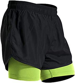 Mens Athletic Outdoor 2 in 1 Shorts Fitness Built-in Pocket Running Leggings Liner Quick Dry Workout Gym Pants