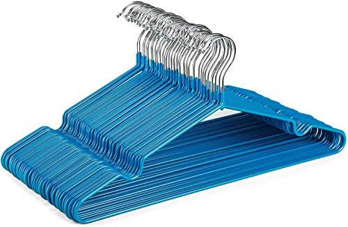 HOUSE DAY 40 Stück Hemdbügel Metallbügel Drahtbügel 42 cm Starke Anti-Rutsch-Kleiderbügel Gummibeschichtete Kleiderbügel Hochleistungsbügel (blau)