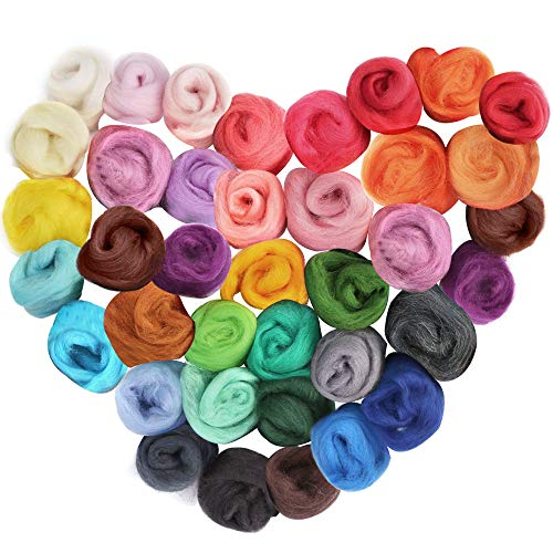 LoveInUSA Needle Felting Wool Fibre Wool Yarn Roving for DIY Craft Materials 36 Colors