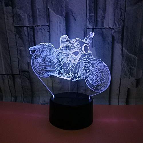 3D LED Luz de noche 16 colores Cambiar la lámpara de la lámpara de la motocicleta Lámpara de la lámpara de mesa USB, con la luz nocturna del LED del USB remoto para los niños Decoración de la sala