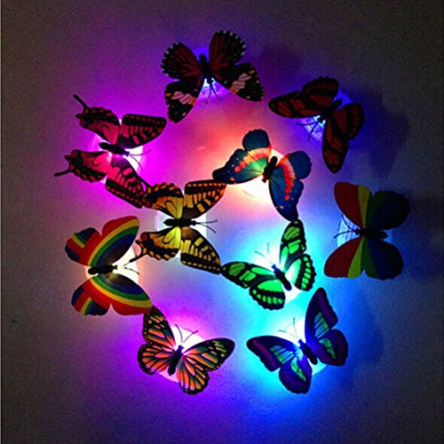 3D Schmetterling LED beleuchtet, Creative Blinklicht Colorful Schmetterling Nachtlicht Aufkleber Wand Aufkleber Lampe LED Deko Night Lights zufällige (10pcs)
