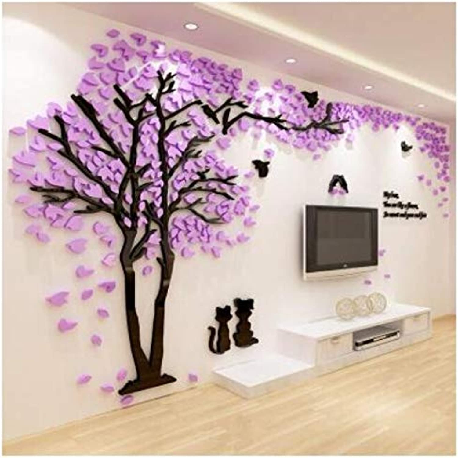 New Home Decoration Style Beautiful Cat Couples Tree Acrylic 3D Wall Stickers For Living Room Sofa Tv Background Wall,Smalll,Ayzr