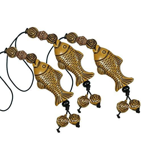 ChicEver 3x Glücksbringer Fisch aus Harz, Handyanhänger, Taschenanhänger, Schlüsselanhänger, 7322