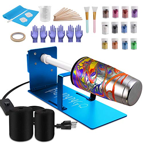 Cup Turner for Crafts Tumbler, Cup Tumbler Turner Machine Epoxy for Tumblers Cuptisserie Spinner, Rotisserie Motor & Balance Steering Shaft, 12 Glitters for DIY Cup Painting Under 50 Oz