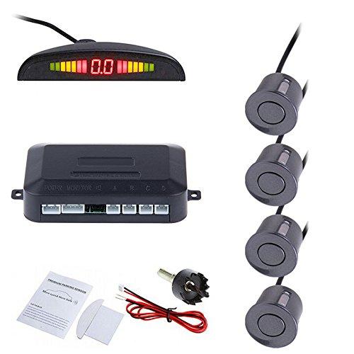 Tiemahun LED Parking Sensors Car Auto Vehicle Reverse Backup Radar System, Sound Warning, Water resistant anti-freeze, 22MM Diameter Sensor 2.3M Cable X68D (Grey)