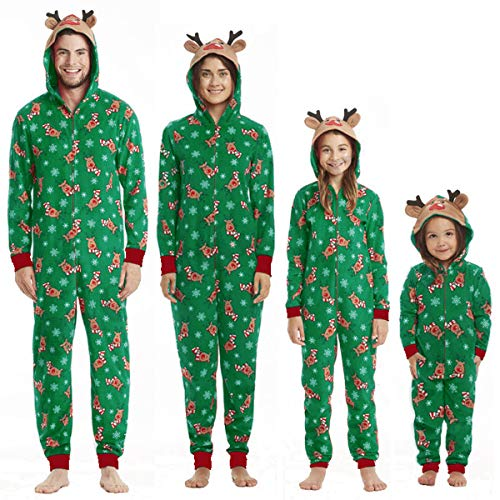 Christmas Family Matching Hoodie Pajamas Reindeer Romper Long Sleeve One Piece Jumpsuit Zipper Pjs for Adult Kids Baby (Christmas Green Reindeer,Women(Mom)- L)